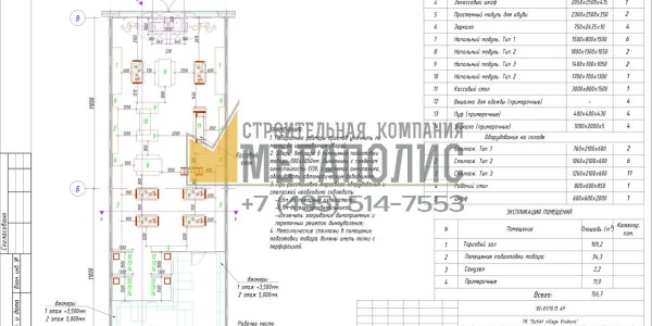 Проект архитектуры магазина.План расстановки мебели